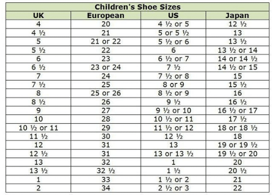 children shoe size guide aliexpress