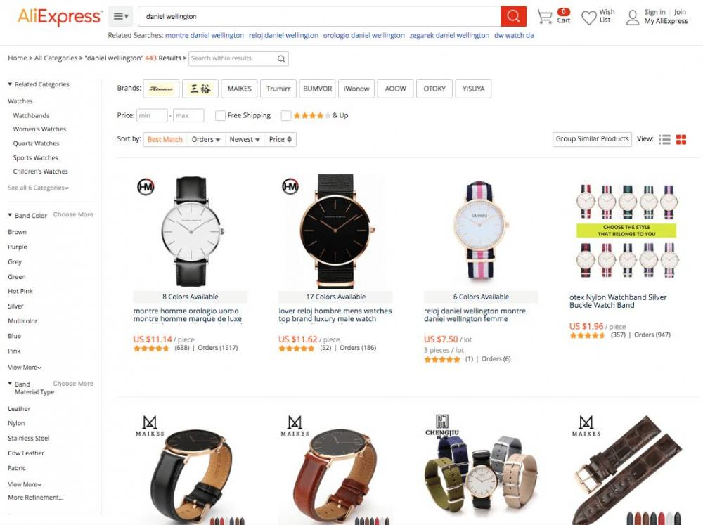 finding brand aliexpress